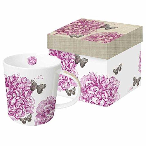 Paperproducts Design New Bone China Large Capacity Gift Boxed Mug, Vintage Peony, 13.5 oz, Multicolor (Box Peony)