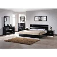J&M Furniture Lucca Black Lacquer with Crystal Accents Bedroom Set -King Size