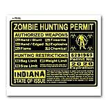 Indiana IN Zombie Hunting License Permit Yellow - Biohazard Response Team - Window Bumper Locker Sticker