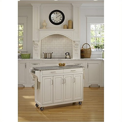 Home Styles 9200-1023 Create-a-Cart 9200 Series Cabinet Kitchen Cart with Gray Granite Top, White Finish