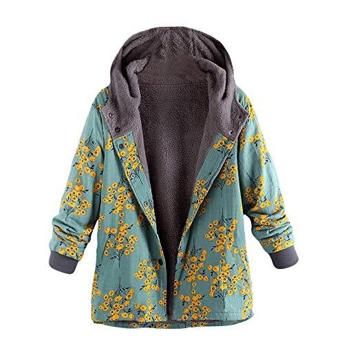 élégant imprimé floral manteau à femmes pour femmes mode Vêtements Grün chaude capuche longues matelassé manches classique d'hiver OqPt7