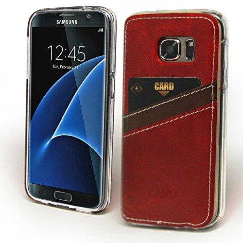 Galaxy S7 Edge Caso, Cellto [Cano Monedero] [Delgado] resistente a arañazos de la piel del gel de goma de silicona suave cubierta de la caja protectora para el Samsung Galaxy S7 Edge - (Brown) Delgado Monedero - Rojo