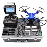 Drone with HD Camera, Potensic F181DH RC Drone Quadcopter RTF Altitude Hold UFO with Newest Hover Function,2MP Camera& 5.8Ghz FPV LCD Screen Monitor & Drone Carrying Case(Blue)