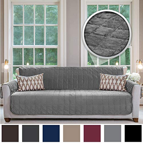 Gorilla Grip Original Velvet Slip Resistant X-Large Oversized Sofa Protector for Seat Width up to 78 Inch, Furniture Slipcover, 2 Inch Straps, Couch Slip Cover Throw for Pets, Dogs, Cats, Sofa, Gray