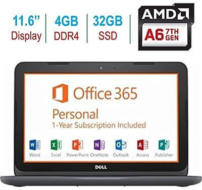 "2018 Newest Dell Premium 11.6"" Laptop PC, 7th Gen AMD A6-9220e up to 2.4GHz, 4GB RAM, 32GB Flash Storage, HDMI, WIFI, Bluetooth, MaxxAudio Pro, Windows 10, 1 Year Office 365 Personal Subscription"