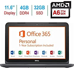 "2018 Newest Dell Premium 11.6"" Laptop PC, 7th Gen AMD A6-9220e up to 2.4GHz, 4GB RAM, 32GB Flash Storage, HDMI, WIFI, Bluetooth, MaxxAudio Pro, Windows 10, 1 Year Office 365 Personal Subscription"