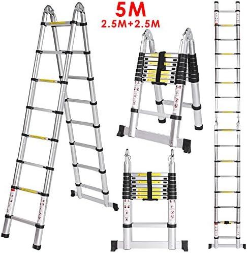 voluker Escalera telescópica 5 m – Escalera extensible de alta calidad de aluminio telescópica de diseño más utilizar con escalera, carga máxima 150 kg: Amazon.es: Bricolaje y herramientas