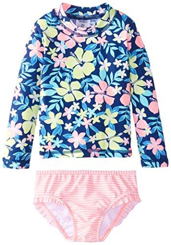 carter's Little Girls' Toddler Floral Top Rashguard Set, Navy, 3T