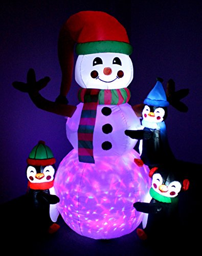 6 Foot Tall Lighted Christmas Inflatable Three Cute Penguins Building Snowman Color LEDs Yard Decoration by BZB Goods (Image #2)