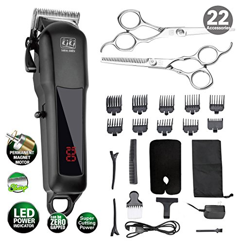 Hair Clipper Cutter - KIKI Cordless Rechargeable Hair Clippers Set Hair cutter LED display Professional Super Cutting Power, Lithium Battery(2000MAh) 22 accessories