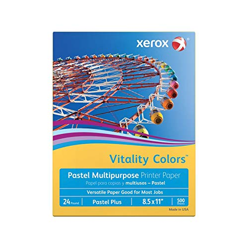 Xerox Vitality Colors Pastel Plus Multipurpose Printer Paper, Letter Size, 24 Lb, 30% Recycled, Goldenrod, Ream of 500 Sheets ()