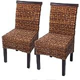 Set 2x sedie M45 intreccio di banano gambe scure 96x46x55cm ~ senza cuscino