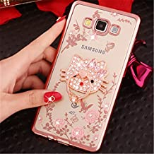 Galaxy Grand Prime Case,Secret Garden Butterfly Floral Bling Swarovski Rhinestone Diamond Rotating Ring Stand Holder Case for Samsung Galaxy Grand Prime G530(Rose Gold-Pink KT)