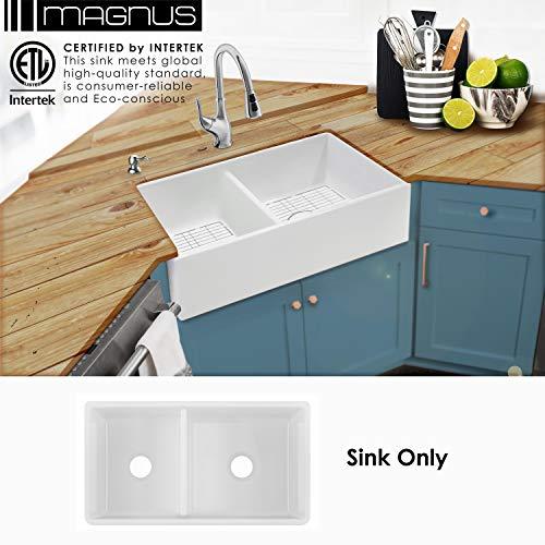 MSFC4060PLN 33-in 40/60 Double Bowl Fireclay Apron Front Farmhouse Kitchen Sink ...