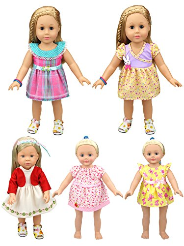 XADP Different Style Doll Clothes Outfits Baby Doll Clothes For 14-16 Inch American Girl Dolls,Set of 5 (15 Inch Clothes Dolls For Doll)
