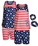 Sleep On It Girls 4-Piece Pajama Tank Top and Short Set with Matching Scrunchies (2 Full Sets)