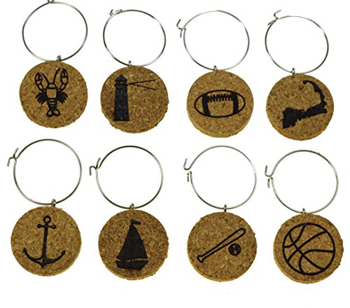 Cork Wine Glass Charms (20+ Unique Designs) - Set of 8 - Boston Themed Designs: Lobster, Lighthouse, Football, Cape Cod, Anchor, Sailboat, Baseball, Basketball - Tags to Mark Your Drink (Boston Ball Set)