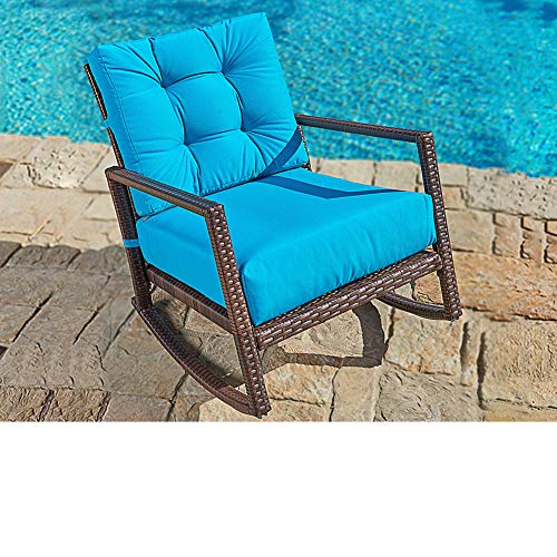 SUNCROWN Patio Rocking Chair (1 Piece) Outdoor Furniture Teal Wicker Seat with Thick, Washable Cushions | Backyard, Pool, Porch | Smooth Gliding Rocker with Improved Stability ()