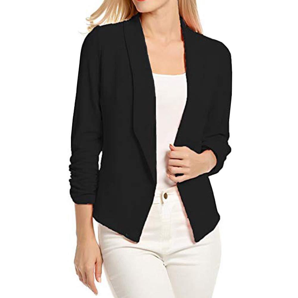 Blouses for Work,NRUTUPWomen 3/4 Sleeve Blazer Open Front Short Cardigan Suit Jacket Work Office Coat (L,Black)