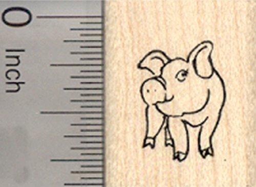 Tiny Pig Rubber Stamp, Farm, Livestock, Small