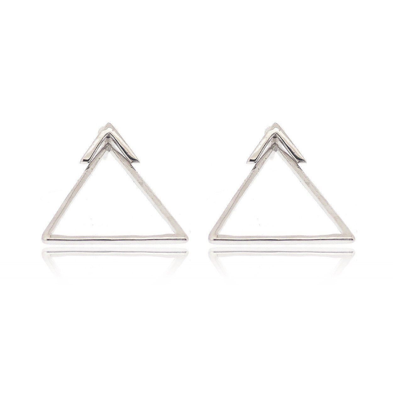 Sovats Two Way Earring Triangle For Women 925 Sterling Silver Rhodium Plated - Simple, Stylish Front And Back Earrings&Trendy Nickel Free Earring