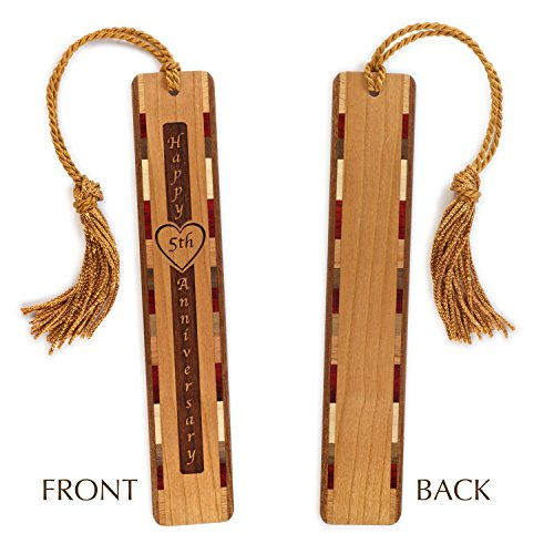 5th Anniversary Engraved Bookmark with Tassel - Personalized version also available - search B071R3N94F