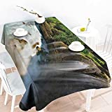 Homrkey Polyester Tablecloth Nature Jogan Beach Waterfall View in Java Indonesia Tropical Seashore Scenery Green White and Brown Easy to Clean W52 xL72