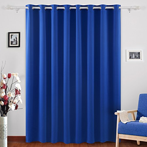 Deconovo Blackout Curtains Grommet Top Drapes Wide Width Curtains for Girls Room 100 x 95 Inch Royal Blue 1 Panel
