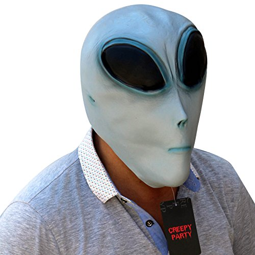 CreepyParty Deluxe Novelty Latex Halloween Mask Full Head Mask Alien -