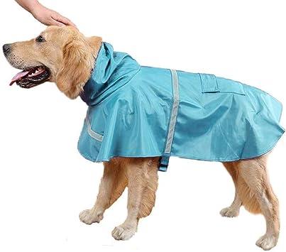 Blue, S Impermeabile Cane Taglia Piccola Cappotto con Fascia Riflettente e Cappuccio Regolabile Media e Grande Mantella Pioggia per Cani con Chiusura Velcro e Tasca Ducomi Neon