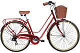 Gama Bikes Women's City Avenue Step-Thru 7 Speed Shimano Commuter Road Bicycle, 17″/One Size, Red For Sale