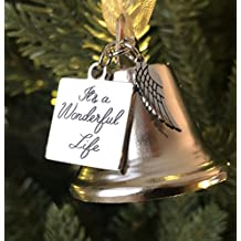 """""""It's a Wonderful Life"""" Inspired Christmas Angel Bell Ornament with Stainless Steel Angel Wing Charm"""