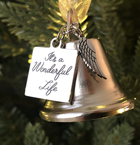 K9King It's a Wonderful Life Inspired Christmas Angel Bell Ornament with Stainless Steel Angel Wing Charm. New Larger Size and Now Comes with 2 Interchangeable Ribbons. - Ornament Bell Gold