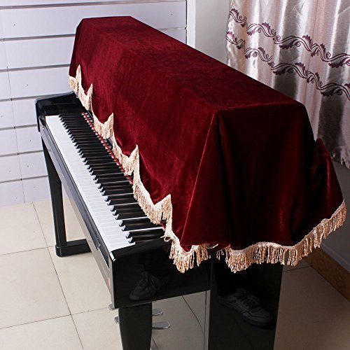 Andoer 88-key Electronic Piano Keyboard Cover Pleuche Fastener Tape Decorated with Fringes Beautiful by Andoer