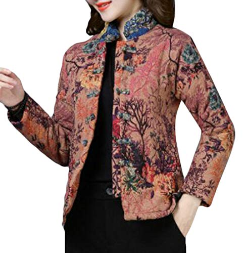 Quilted Frog (X-Future Womens Long Sleeve Quilted Stand Collar Printed Frog-Button Down Jacket one US S)