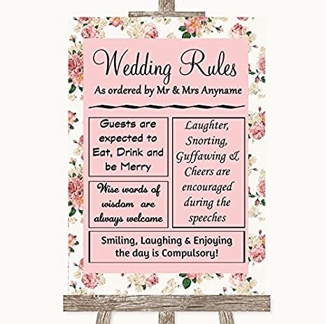 Amazon.com: Vintage rosas reglas de la boda signo de bodas ...