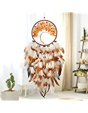 Alynsehom Dream Catcher Tree of Life Wall Hanging Boho Decor Handmade Dream Catchers Crystal with LED Light Feather Circular Traditional Bohemian Home Decoration Ornament Craft