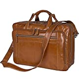 Large Mens Genuine Leather Berchirly Business Travel Laptop Briefcase Brown Yellow