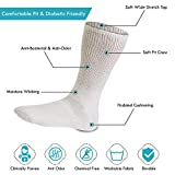 Diabetic Socks Mens Cotton 6-Pack Crew White By