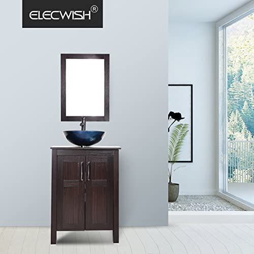 Elecwish USBA20090 USBA20077 Bathroom Vanity and Sink Combo, Stand Cabinet and Tempered Blue Glass Vessel Sink, Orb Faucet and Pop Up Drain, Mirror, Mounting Ring