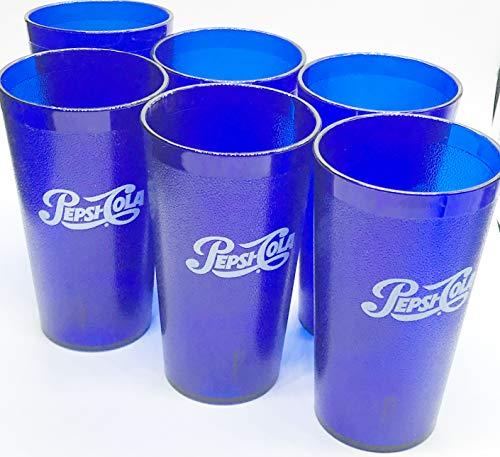 (PEPSI Classic Script Logo Royal Blue Plastic TuMblers Set of 6-16oz)