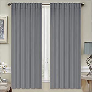 Mellanni thermal insulated blackout curtains 2 panels window treatments drapes - Amazon curtains living room ...