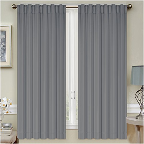 Pole Top Curtain Panel (Mellanni Thermal Insulated Blackout Curtains - 2 Panels - Window Treatments / Drapes for Bedroom, Living Room with Pole Top, 7 Back Loops and 2 Tiebacks (2 Panels, 52