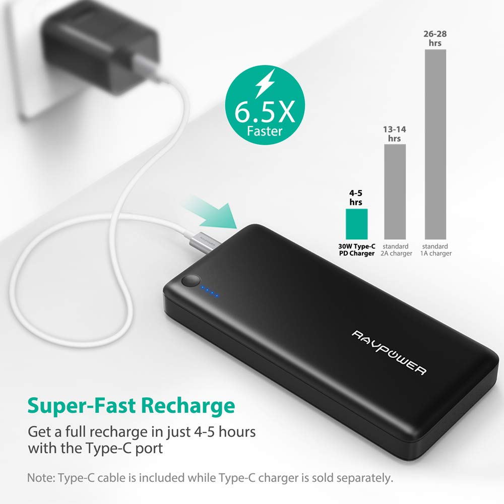 Usb C Power Bank Ravpower 26800 Pd Portable Charger Automatic Switching For Battery 8211 Connection 26800mah Fast Recharged In 45 Hours Input 30w Type Output Nintendo Switch