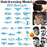 Connoworld 16pcs Hairstyle Ideas Variety Barber Hairdressing Model DIY Cool Hairstyles Stencil Hairdressing Carving Pattern Accessories Hair Styling Tattoo Template Trimmer Hair Salon Pattern Tool
