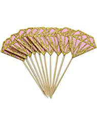 Mybbshower Pink and Gold Diamond Cupcake Topper for Bachelorette Party Pack of 20