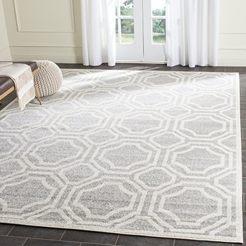 Safavieh Amherst Collection AMT411B Light Grey and Ivory Indoor/ Outdoor Area Rug (5′ x 8′)