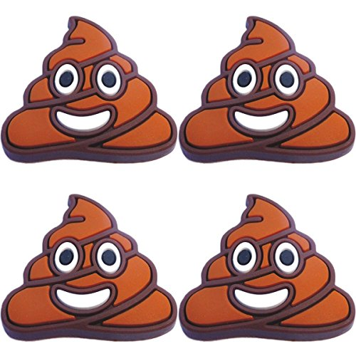 Four (4) of Poop Emoji Rubber Charms for Wristbands and Shoes ()