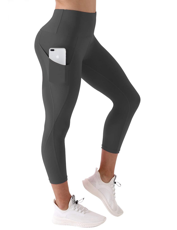 BUBBLELIME High Compression Yoga Capris Out Pocket Running Capris Moisture Wicking UPF30+ Yoga Leggings, Bwsb010 Shadowcharcoal, Small