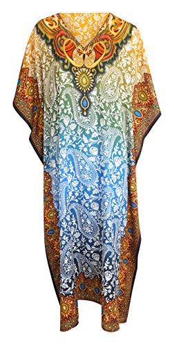 Mia Creations Floral Print Long Kaftan Plus Size Maxi Dress (Yellow-Blue Gradient)
